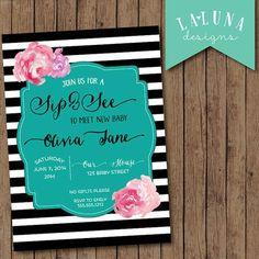 Modern Black and white Sip and See Invitation