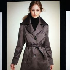 Impermeable Platinum Trench Impermeable Platinum by Weatherproof Satin Trench. Grey.  as seen in Nordstrom. Impermeable Platinum Jackets & Coats
