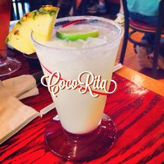 CocoRita from Red Robin in Apex, NC. Part piña colada. Part margarita. All delicious. 1800 coconut 100% Blue Agave tequila, real cream of coconut, fresh house-made Margarita mix and pineapple juice shaken and served with a sugar rim, fresh pineapple and coconut flakes. 9⃣