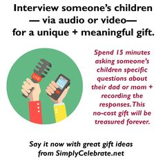 {Last Minute Father's Day Gift} If you have a smart phone, you can create an amazing gift that someone will treasure forever! It won't cost anything + you can make it in as little as 15 minutes! Interview your children as a gift for their dad. You can ask what they love best about him, their favorite memories from vacations, silly moments they remember, what they think he does for work, funny things he always says, etc. (See the link below for more questions!) My son's dad did this for me… Meaningful Gifts, Creative Gifts, Giving, Fathers Day Gifts, Funny Things, Vacations, No Response, Best Gifts, Interview