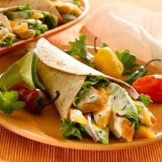 Grilled Chicken & Mango Wraps Recipe ~ INGREDIENTS: Mayonnaise - Knorr® Garlic MiniCube - Lime juice - Fresh cilantro - Ground cumin - Whole wheat tortillas or sandwich wraps - Lettuce leaves - Skinless chicken breasts - Mango - Avocado - Red onion Mango Chicken, Lime Chicken, Grilled Shrimp Tacos, Grilled Chicken, Buffalo Chicken Wraps, Cooking Recipes, Healthy Recipes, Grilled Recipes, Potluck Recipes