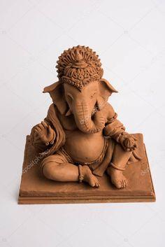 Eco Friendly Ganesh Ganpati Idol Murti Home Made Selective Focus - Stock , Ganpati Decoration Design, Thali Decoration Ideas, Mandir Decoration, Clay Ganesha, Ganesha Art, Ganesha Pictures, Ganesh Images, Ganesh Pooja, Shree Ganesh