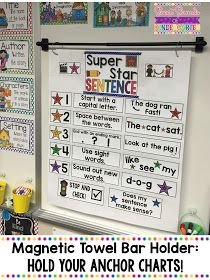 Here's the perfect way to hold your anchor charts: the magnetic towel bar holder! Click through to see how you can use it in your kindergarten or first grade classroom! First Grade Classroom, Classroom Setup, Classroom Design, Kindergarten Classroom, Classroom Organization, Kindergarten Writing, Organization Ideas, Classroom Management, Classroom Hacks