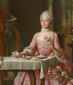 Detail from Spring by Peter Jacob Horemans, Portrait Art, Portraits, Gouache, Nostalgic Art, Painted Cottage, 18th Century Fashion, Tea Art, Antique Art, Pastel