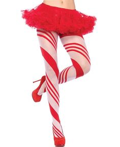 Leg Avenue 7944 Women's Spandex Sheer Candy Striped Pantyhose - Red/White - One Size
