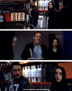 "Coulson: I missed it, didn't I? You two together and we missed it. Damn! #Marvel Agents of S.H.I.E.L.D. #AoS #AgentsofSHIELD 4x22 ""World's End"""