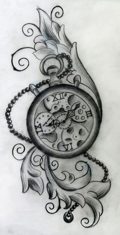 Pocket watch tattoo sketch  I want to get a similar tattoo with the time of my son's birth on ...