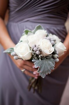 Rose-Silver-Brunia-Dusty-Miller-Bouquet