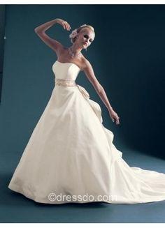 Strapless White Wedding Dress