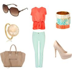 ideal mint pants outfit, created by meganibennett on Polyvore