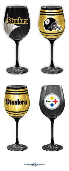 Cheering on your Pittsburgh Steelers never looked so stunning! This collection of officially-licensed wine glasses is crafted in the finest European tradition and sports team logos, team colors and metallic finishes. Arrive in sets of 2.