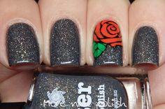 Picture Polish: Winter ... a grey jelly polish with a scattered holo effect ... with a red rose nail art