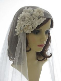 1920s style wedding  veil -  couture bridal cap veil - cap veil with blusher - Bouquet on Etsy, $316.24