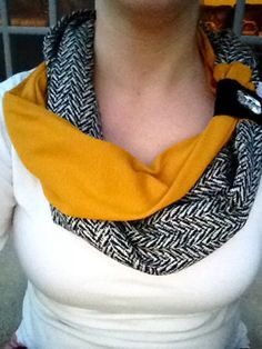 Two-toned fabric button scarf