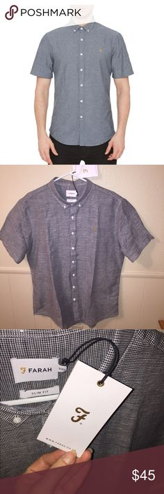 NWT Farah Men's Shirt XXL Purchased by husband from overseas but he didn't like how it looked on him when he tried it on :( he does not do returns.. paid over $50 for this shirt. Fabric is very lightweight great quality and fresh perfect for the warmer days ahead. Farah Shirts Dress Shirts