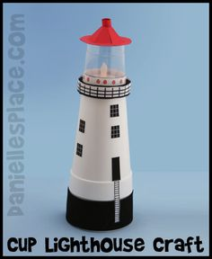 Lighthouse Craft Made with Cups Kids Can Make from www.daniellesplace.com