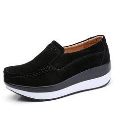 9ac8a21498f5 Large Size Rocker Sole Suede Slip On Casual Shoes. Leder MokassinsFlache  Schuhe ...