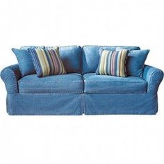 Best Picture Of Cindy Crawford Home Beachside Blue Denim Sofa 400 x 300