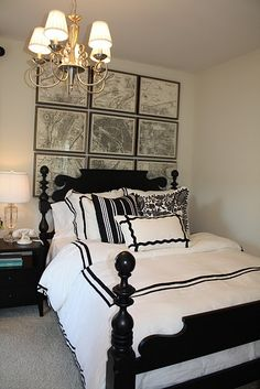 Black & White bedrooms - ethan allen quincy bed Ethan Allen Paris Grid vintage map art black wood lamp white hotel bedding black frame crystal urn lamps  Charlotte