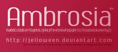 Here's a demo version of one of my new fonts, called Ambrosia. It has all letters, numbers and a few symbols. So try it out If you like it, please buy the full family including 6 styles in 2 differ...