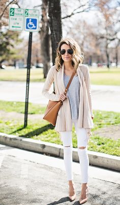 Love this cardigan (pink color, loose fit, but still structured) and the white distressed ankle length jeans