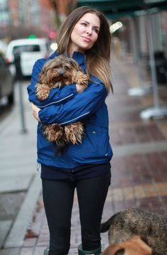 Mary Zilba Enjoys A Rainy Day With Her Dog -- look at that puppy!!! - its a yorkie my future dog!
