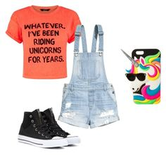 """""""Unicorns are magical!!"""" by lulubeans101 ❤ liked on Polyvore featuring H&M, Converse and claire's"""