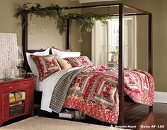 Christmas : Wonderful Bedrooms in Christmas Decorating Themes - Delectable Bedroom Decor For Christmas with Festive Red Comforter Set Motives and Antique Bedside Drawer and Wooden Canopy Bed with Green Garland Decorations medium version