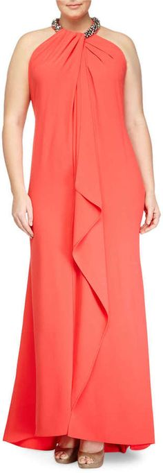 Shop Sleeveless Beaded-Neck Toga Gown, Coral, Women's from Carmen Marc Valvo at Neiman Marcus Last Call, where you'll save as much as on designer fashions. Plus Size Gowns, Plus Size Outfits, Curvy Girl Fashion, Plus Size Fashion, Pretty Outfits, Beautiful Outfits, Mode Plus, Curvy Dress, Formal Dresses For Weddings
