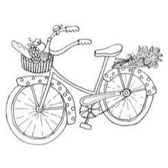 polka dot bike with flowers and picnic basket Hand Embroidery Patterns, Applique Patterns, Embroidery Applique, Cross Stitch Embroidery, Embroidery Designs, Colouring Pages, Coloring Books, Bordados E Cia, Copics