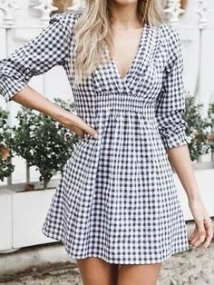 Black Plaid Cotton Blend V-neck Chic Women Mini Dress