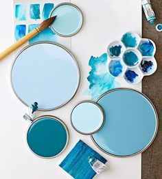Cottage Blue - Find the perfect blue paint color for your room. Browse our inspiring palettes of blue, and see how the hue can decorate any space. Plus, get the paint color names from these palettes, as well as some from our favorite blue rooms. Coastal Paint Colors, Top Paint Colors, Paint Color Schemes, Aqua Paint, Light Blue Paint Colors, Room Colors, Wall Colors, House Colors, Pantone