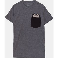 Pocket Pusheen unisex tee ($24) ❤ liked on Polyvore featuring tops, t-shirts, pocket tee, pocket t shirt, unisex tops, pocket tops and unisex tees