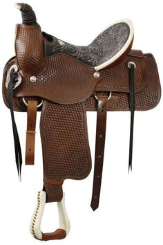Fully tooled basketweave tooling, Roping Style saddle WITH a warranty for roping. Saddle features a smooth leather seat, rawhide around the cantle and horn, rawhide covered stirrups, with tooling in t