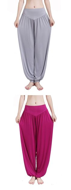 Cosy Loose Dancing Fitness Pants Breathable Pure Color Yoga Sweatpants For Women