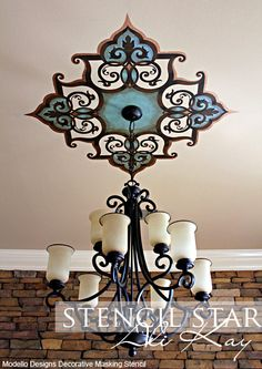 Fab ceiling medallion by Ali Kay of Positive Space. (w/o the chandelier) Decor, Interior, Ceiling Art, Ceiling, Ceiling Design, Home Decor, Home Deco, Chandelier, Ceiling Medallions