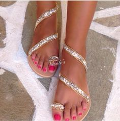 Greek Leather Sandals Handmade by Order.Han dcrafted Leather Sandals decorated with Swarovski.They are bright and shiny in the light of day and night.Find them on Instagram: Nicole_Sandals_ #diysandalsleather