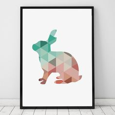 Nursery Coral Mint Geometric animal canvas painting,living room decor picture,no frame