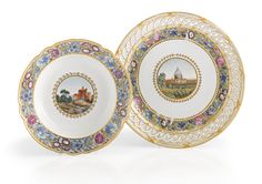 A Russian Porcelain Serving Plate and a Soup Plate from the Cabinet Service, Imperial Porcelain Manufactory, St. Petersburg, Period of Paul I (1796-1801)