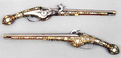 Pair of wheel-lock pistols. France, Sedan (?). About 1610