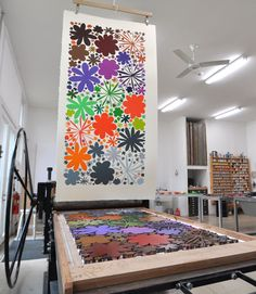 Polly Apfelbaum Studio Love-Alley-4-tall Looks like they made a frame and put inked blocks inside. I want to try this!