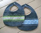 Denim Baby Bibs Set of Two Repurposed Reclaimed Demin Baby Bibs Baby Shower Gift Save the Earth. $16.00, via Etsy.