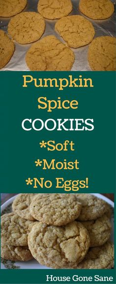 Pumpkin Spice Cookies - Soft, moist, cookies with no eggs required! Pumpkin recipes | fall desserts