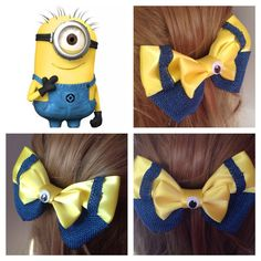 Handmade Hair Bow. Despicable Me Minion. by HairBowObsessions