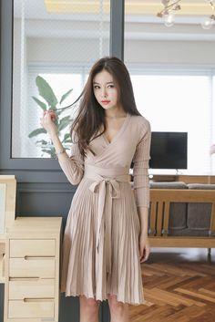 Wrap Wrinkle Long Dress