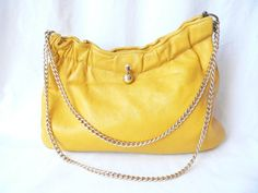 MUSTARD YELLOW CLUTCH Purse Gold Chain by HousewifeVintage on Etsy, $39.00