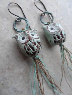 Oh Wise One ... Artisan-Made Polymer Clay Owls Linen Thread