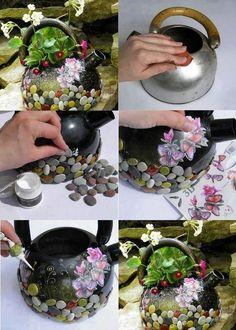 Creative Flower Pot Using A Kettle