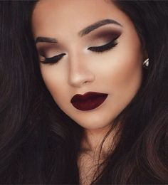 Fall dark lip with smokey cat eye #makeuplooksfall