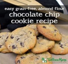 These chocolate chip cookies are grain free, gluten free and sugar optional. Easy to make and a great sub for regular chocolate chip cookies.